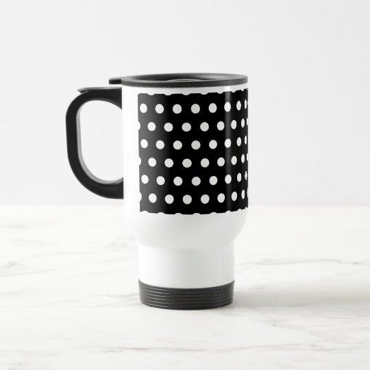 Black and White Polka Dot Pattern. Spotty. Travel Mug