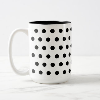 Black and White Polka Dot Pattern. Spotty. Two-Tone Coffee Mug