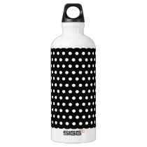 Black and White Polka Dot Pattern. Spotty. Water Bottle