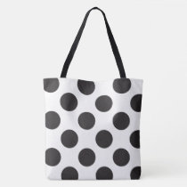 Black And White Polka Dot Pattern Tote Bag