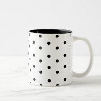 Black and White Polka dot pattern Two-Tone Coffee Mug
