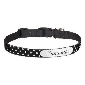 Black and White Polka Dot Personalized Pet Collar