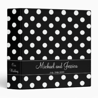 Black and White Polka Dot Personalized Wedding 3 Ring Binders