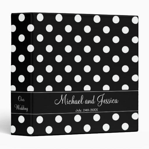 Black and White Polka Dot Personalized Wedding Binders