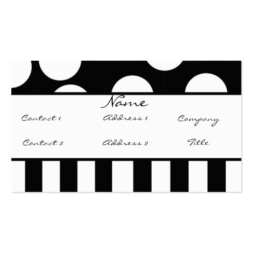 Black and white polka dot profile card double sided for Polka dot business card templates free