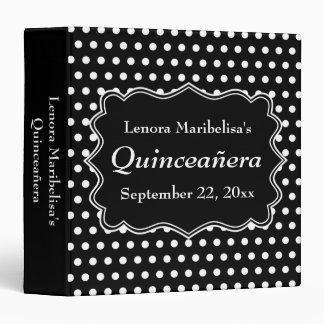 Black and White Polka Dot Quinceanera 3 Ring Binder