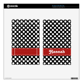 Black and White Polka Dot Red Kindle Fire Skin