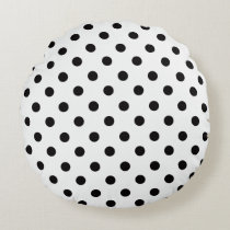 Black and White Polka Dot Round Pillow