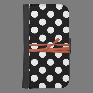 Black and White Polka Dot Samsung S4 Wallet Case Phone Wallet