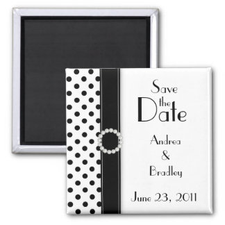 Black and White Polka Dot Save the Date Magnet