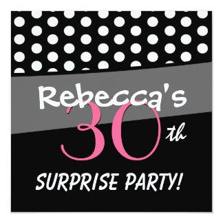 Black and White Polka Dot Surprise Birthday Party Invitation