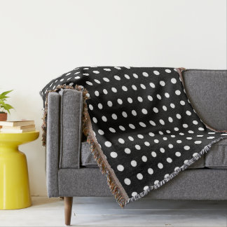 black and white polka dot throw blankets zazzle. Black Bedroom Furniture Sets. Home Design Ideas