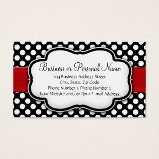 Black and White Polka Dot w/ Red Ribbon Business Card