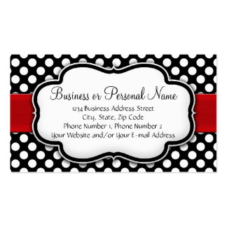 Black and White Polka Dot w Red Ribbon Business Cards