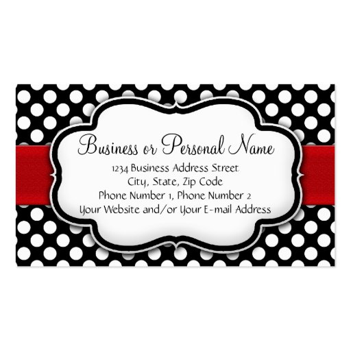 Black and White Polka Dot w/ Red Ribbon Business Cards