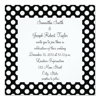 Black and White Polka Dot Wedding Card