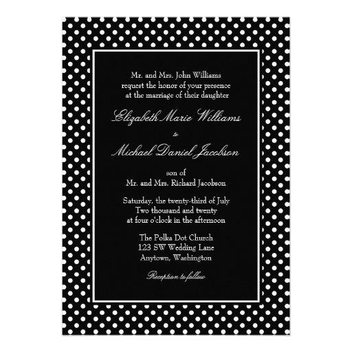 black and white polka dot wedding invitations 5quot x 7 With black and white polka dot wedding invitations