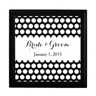 Black and White Polka Dot Wedding Keepsake Box