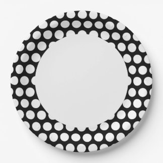 Black and White Polka Dot with Circle Paper Plate