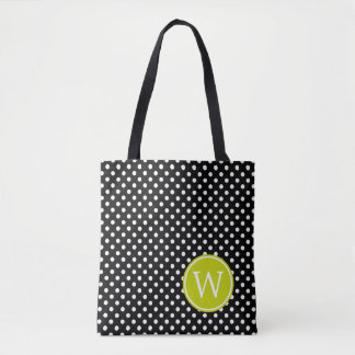 Black and White Polka Dot With Lime Green Monogram Tote Bag