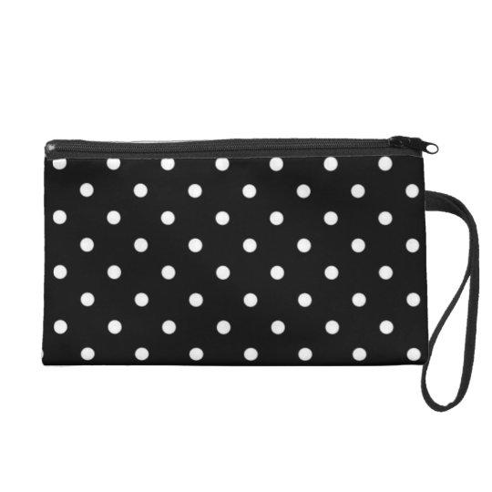 Black And White Polka Dot Wristlet Bag