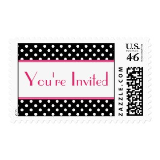 Black and White Polka Dot You're Invited Postage stamp