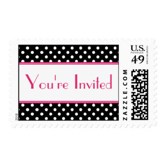 Black and White Polka Dot You're Invited Postage
