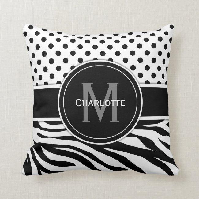 Black and White Polka Dots and Animal Print Throw Pillow