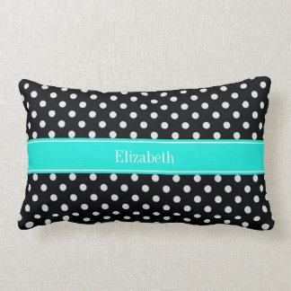 Black and White Polka Dots Aqua Name Monogram7 Throw Pillow
