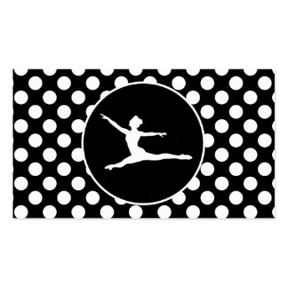 Black and White Polka Dots; Ballet Business Cards