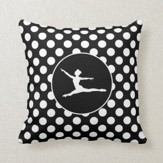 Black and White Polka Dots; Ballet Throw Pillow