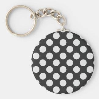 Black and White Polka Dots Basic Round Button Keychain