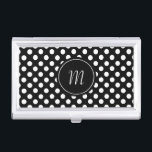 """Black and White Polka Dots Business Card Case<br><div class=""""desc"""">Stylish business card case done in a black and white polka dot pattern.  Graphics of a black and white round disc,  in the middle,  has a white one letter monogram ready to personalize.</div>"""