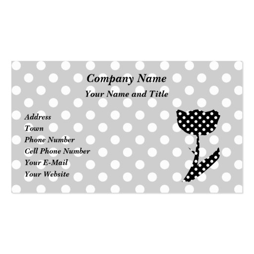 Black and white polka dots double sided standard business for Polka dot business card templates free