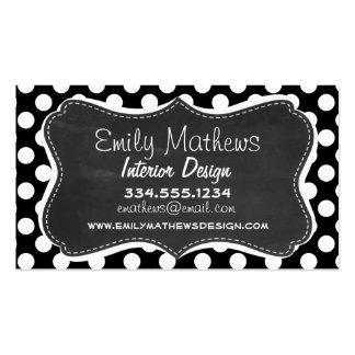 Black and White Polka Dots; Chalkboard look Business Card