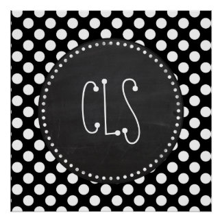 Black and White Polka Dots; Chalkboard look Poster