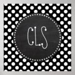 Black and White Polka Dots; Chalkboard look Print