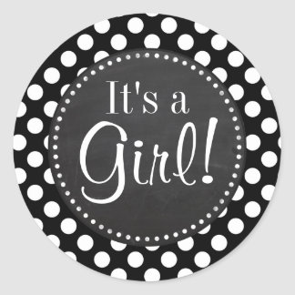 Black and White Polka Dots; Chalkboard look Classic Round Sticker