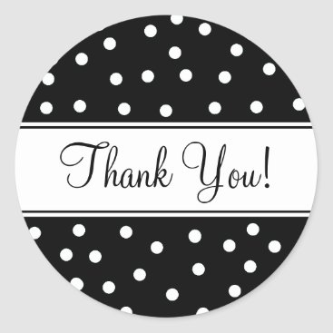 Professional Business Black and White Polka Dots Classic Round Sticker