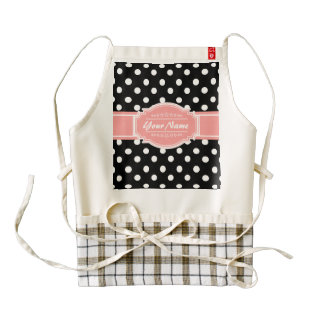 Black and White Polka Dots Coral Personalized Name Zazzle HEART Apron