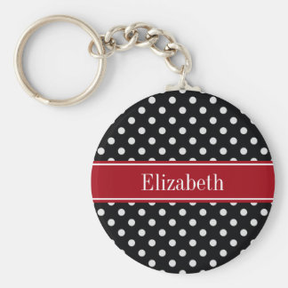 Black and White Polka Dots Cranberry Name Monogram Basic Round Button Keychain