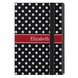 Black and White Polka Dots Cranberry Name Monogram iPad Mini Case