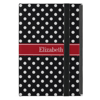 Black and White Polka Dots Cranberry Name Monogram iPad Mini Case