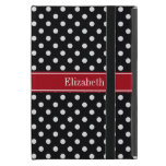 Black and White Polka Dots Cranberry Name Monogram iPad Mini Covers