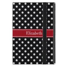 Black And White Polka Dots Cranberry Name Monogram Ipad Mini Covers at Zazzle