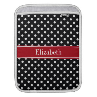 Black and White Polka Dots Cranberry Name Monogram Sleeves For iPads