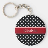 Black and White Polka Dots Cranberry Name Monogram Keychain