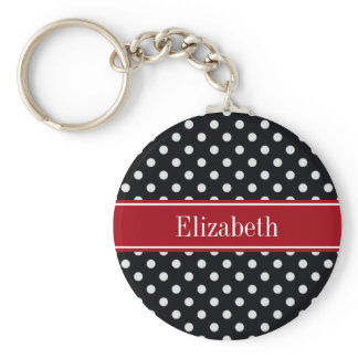 Black and White Polka Dots Cranberry Name Monogram Keychain