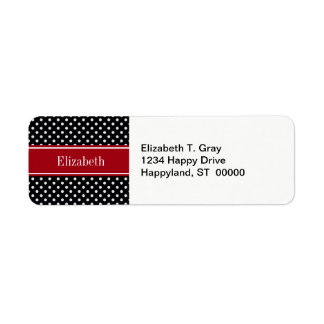 Black and White Polka Dots Cranberry Name Monogram Return Address Label