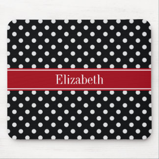 Black and White Polka Dots Cranberry Name Monogram Mouse Pad